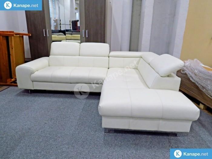 Chef fehér színű ágyazható bőrkanapé - Fehér kanapék