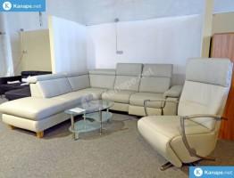 Lava fehér valódi bőr sarokkanapé és fotel