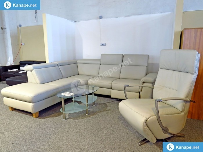 Lava fehér valódi bőr sarokkanapé és fotel - Fehér kanapék