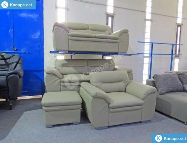 Leandra 3-2-1 valódi bőr egyenes kanapé