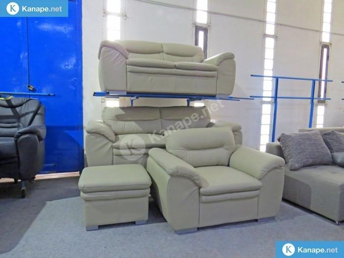Leandra 3-2-1 valódi bőr egyenes kanapé - 3 2 1 ülőgarnitúrák