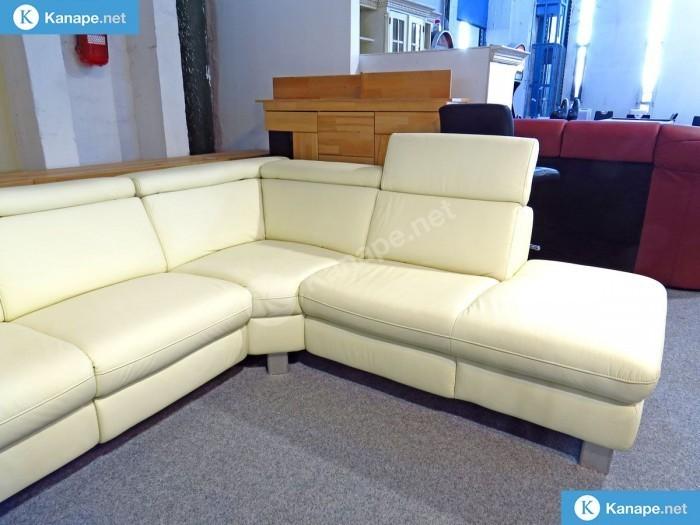 Nemo valódi bőr fehér relax sarokkanapé - Fehér kanapék