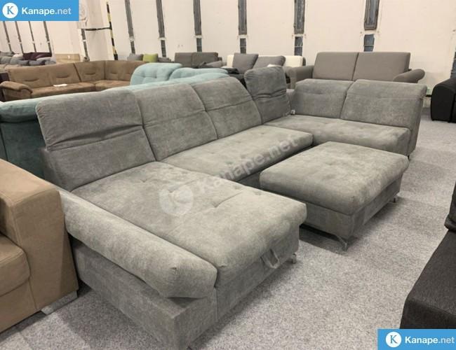 Melfi U alakú kanapé puffal