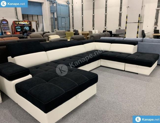 Reggio U formájú fekete kanapé