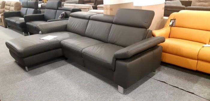 Lava sötétszürke motoros relax sarokkanapé - Relax bőr kanapék