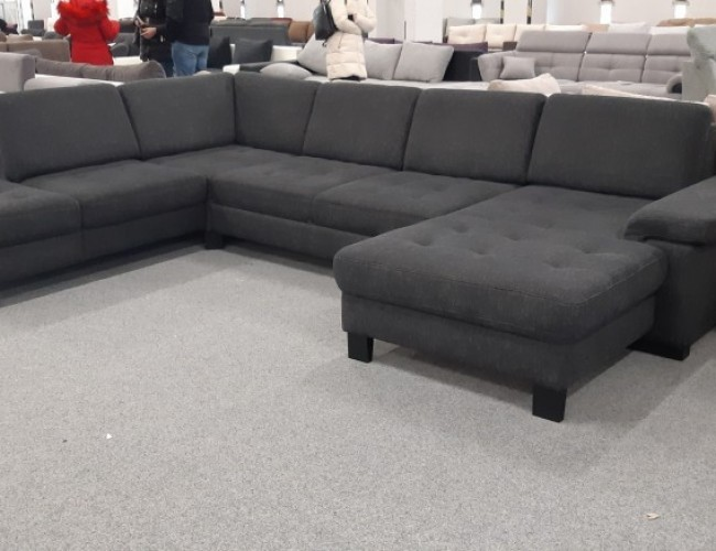 Puzzle U formájú sötétszürke kanapé