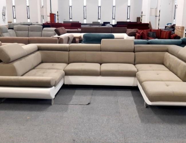 Carrier U formájú barna kanapé
