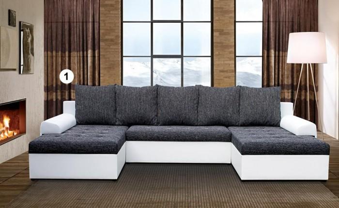 Loras U formájú szövet-textil kanapé -