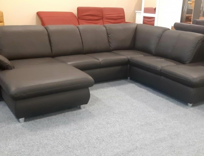Lesli U formájú kanapé valódi bőrből